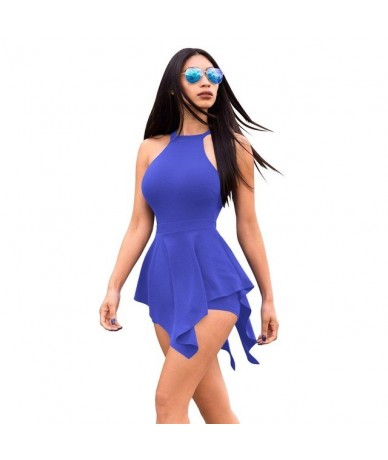 High Stretch Summer Jumpsuits For Women 2019 Ruffles Sleeveless Sexy Playsuits Back Hollow Out Rompers Fashion Women Jumpsui...