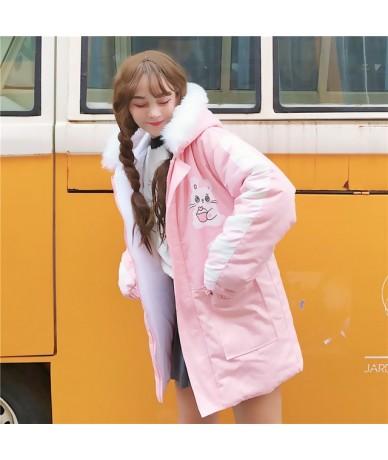 Japanese Style Winter Women Fashion Cute Cartoon Print Maiden Thicken Coats Kawaii Hooded Loose Pink Belt Casual Brief Long ...