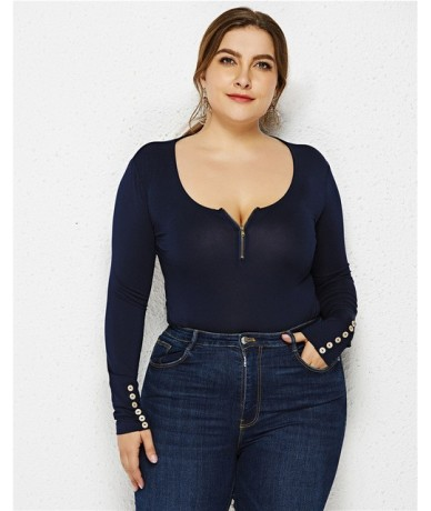 Plus Size XL-6XL Women O Neck Long Sleeve Solid Slim Bottoming Bodysuits 2019 Spring New Zippers Sheath Jumpsuits Big Clothi...