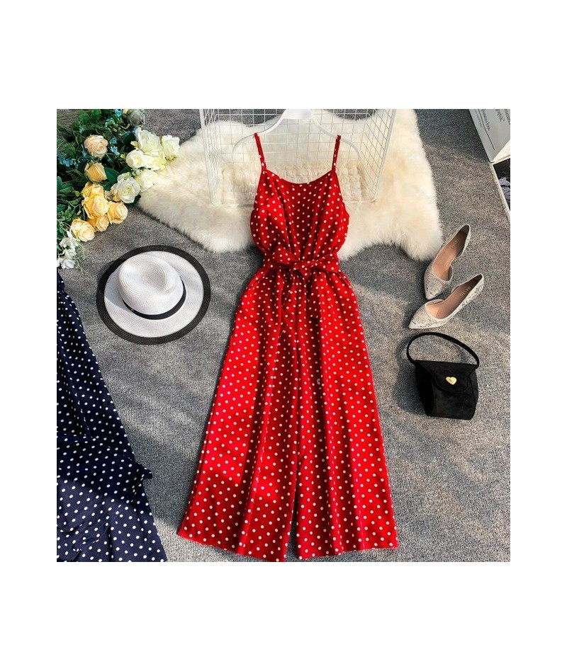 2019 Summer Women Casual Dot Waistband Backless Sling Jumpsuits Ladies Retro Rompers Loose Leg Short Overalls Playsuits - re...