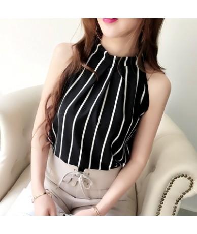 Chiffon Blouse Sleeveless Halter Shirt Stripe/Flower/Dot/Solid Tops 2019 Summer Woman Fashion Elegant Blusas 34714 - 34714 s...