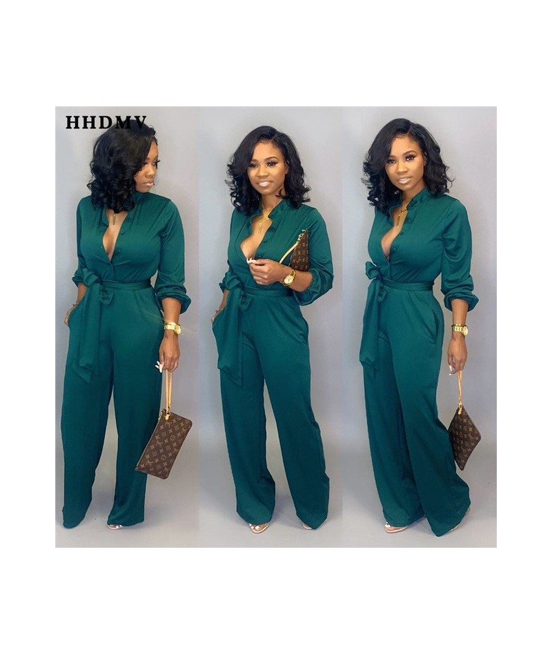 Fashion 2019 new sexy high street style jumpsuits long sleeve lapel deep v sashes pockets jumpsuits long pants - Green - 541...