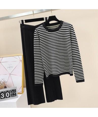 Knitted Autumn Office Lady 2 Piece Set Women Pants Elastic Waist Striped O-neck Tshirt Two Piece Set Pants 2019 - Long Sleev...