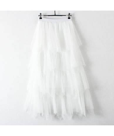 Fashion Tiered Layers Tulle Skirt Women 2019 Spring Summer Korean Long Maxi Pleated Skirt Female Pink White Sun Skirt - Whit...
