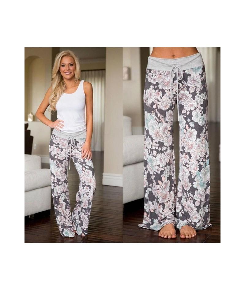 Yellow Color Blocked Wide Leg Pants Women Summer 2019 Streetwear High Waist Pants Elastic Casual Drawstring Long Trousers - ...