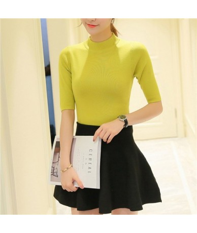 Spring Autumn Knitted Sweater and Pullovers for Women Half Sleeve Half Turtleneck Chandail Femme Sexy Slim Maglioni Donna - ...
