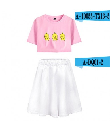 2018 New SOCIDL DUCKS Short Skirt Suit Short Sleeve T-shirt and Short Skirt Two Piece Girl Casual Kpop Style Sets - 8 - 4Q30...