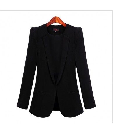 Autumn Tops Women Slim Blazers Long Sleeve Solid Leisure Western Style Suits Female Notched Blazers Plus Size 4XL - black - ...