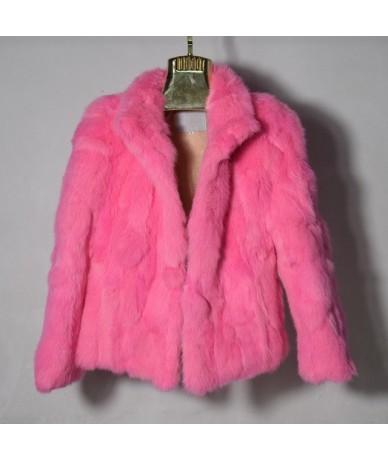 Women Genuine Rabbit Fur Coats Solid Female Stand Collar Rex Rabbit Fur Coat Winter Fashion Real Fur Overcoat Jackets 1- Pin...