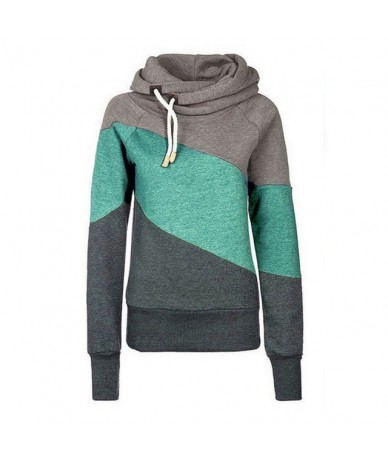 Women Autumn Hoodies Contrast Color Long Sleeves Hooded Pullover Thick Tops FDC99 - As shown - 4G4162693580-1