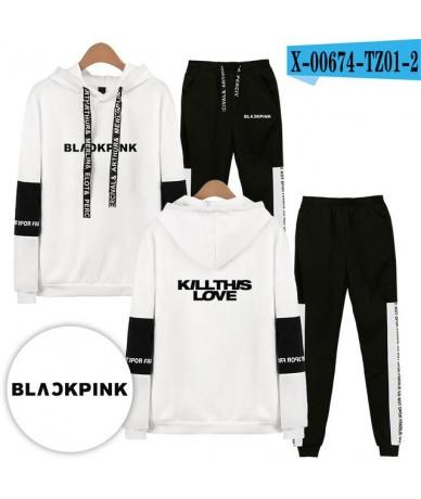 Blackpink KILLTHISLOVE Kpop Hoodie Set Women Men Long Sleeve Hip Pop Sweatshirt+Sweatpants Suits Blackpink Latest Album - Wh...