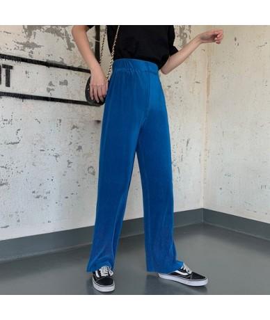Korean Palazzo Pants High Waist Casual Pants Women Black Beige Red Blue Loose Trousers - Blue - 4K4173561063-3