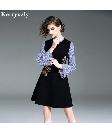 Spring Striped Stitching Floral Embroidery Dress Women Clothes 2019 Shirt Retro Dress Kleider Damen Jurken Tunique Femme K63...