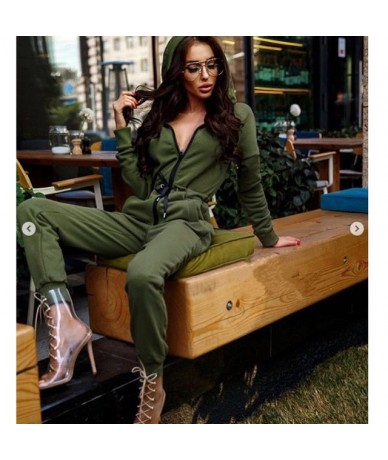 2018 New Style Fashion Women Casual Hoodie Long Sleeve Solid Zipper Jumpsiut Romper Long Sleeve With Hat - Green - 413028323...