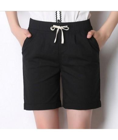 2019 summer women shorts Candy linen cotton casual shorts female solid color elastic waist shorts women plus size 4XL - Pict...