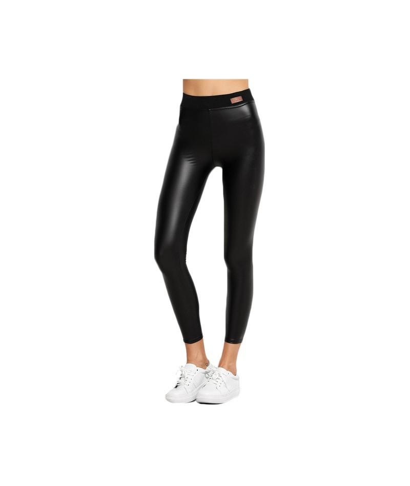 Faux Leather Leggings Fitness High Waisted Warm Pants For Women Black Contrast Elastic Waist Skinny Leggings - Black - 4P387...