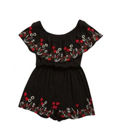 Fashion Print Embroidery Jumpsuit Women Summer Off Shoulder Playsuits Ruffles High Waist Bodysuits - Black - 32999524836