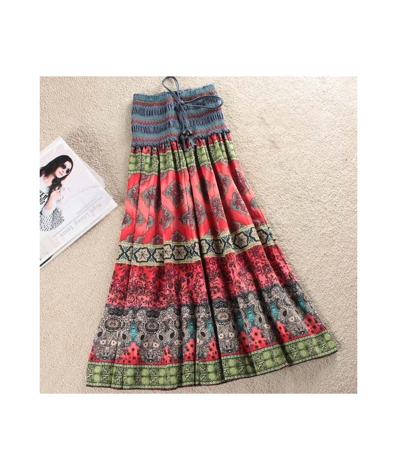 Boho Floral A-line Women's Maxi Skirt Elastic High Waist Sashes Vintage Pleated Womens Skirts 2019 Summer Fashion Clothes Fe...