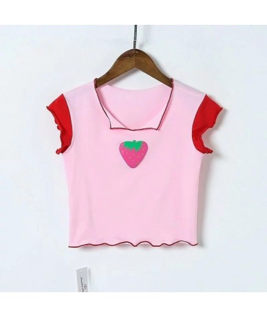 Women Strawberry Print Crop Tee with Frill Trim - pink - 4R3002207269-1