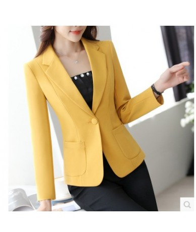 Autumn small suit jacket Korean version of women's casual long-sleeved white tailored short suit jacket - YELLOW - 5G1112574...