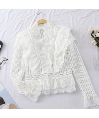 Korean Elegant Hollow Out Mesh Lace Tops Women Sexy V Neck Ruffles Blouse Shirt Pink White Long Sleeve Spring 2019 Ladies To...