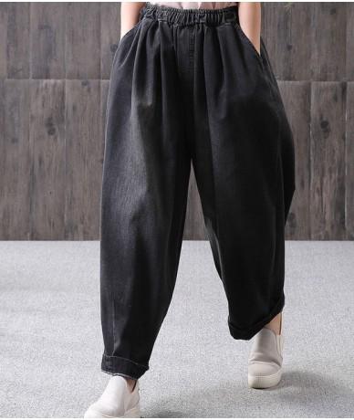 Women Spring Loose Harem Denim Pants Jeans Ladies Elastic Waist Vintage Plus Size Denim Trousers Female Bleached Jeans 2019 ...