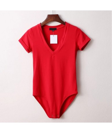Women's Sexy White V-neck Bodysuit Short Sleeve Bodycon Rompers For Women 2019 Summer Fashion Casual Playsuits Female - Red ...
