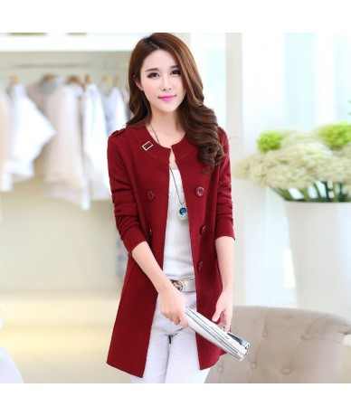 New Fashion Autumn Spring Women Sweater Cardigans Casual Warm Long Design Female Knitted Coat Cardigan Sweater Lady - red - ...