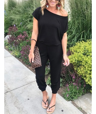 Belted Deep V Neck Sexy Bodysuits Off The Shoulder Elegant Summer Playsuits 2019 Lace Women Jumpsuits Female Overalls - Blac...