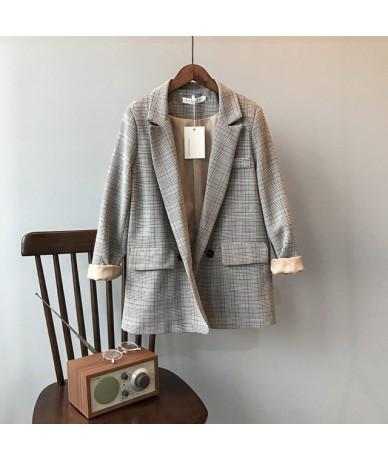 Vintage Plaid Blazer Coats Woman Autumn Long Sleeve Notched Office Lady Business Blazers Female Loose Outwear Jacket Coats -...