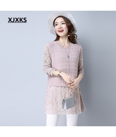 New 2019 Autumn Women Pullovers Sweater Dresses Knitted Lace Sleeve Vintage Beautiful Natural Casual Long Sweater - Pink - 4...