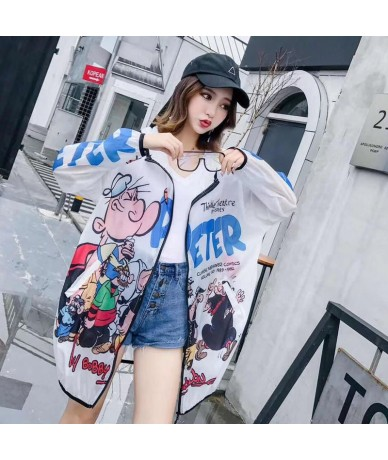 Summer Cartoon Sun protection Clothing Women High Street See Through Summer Cardigan Plus Size Loose Hooded Coat - White - 4...