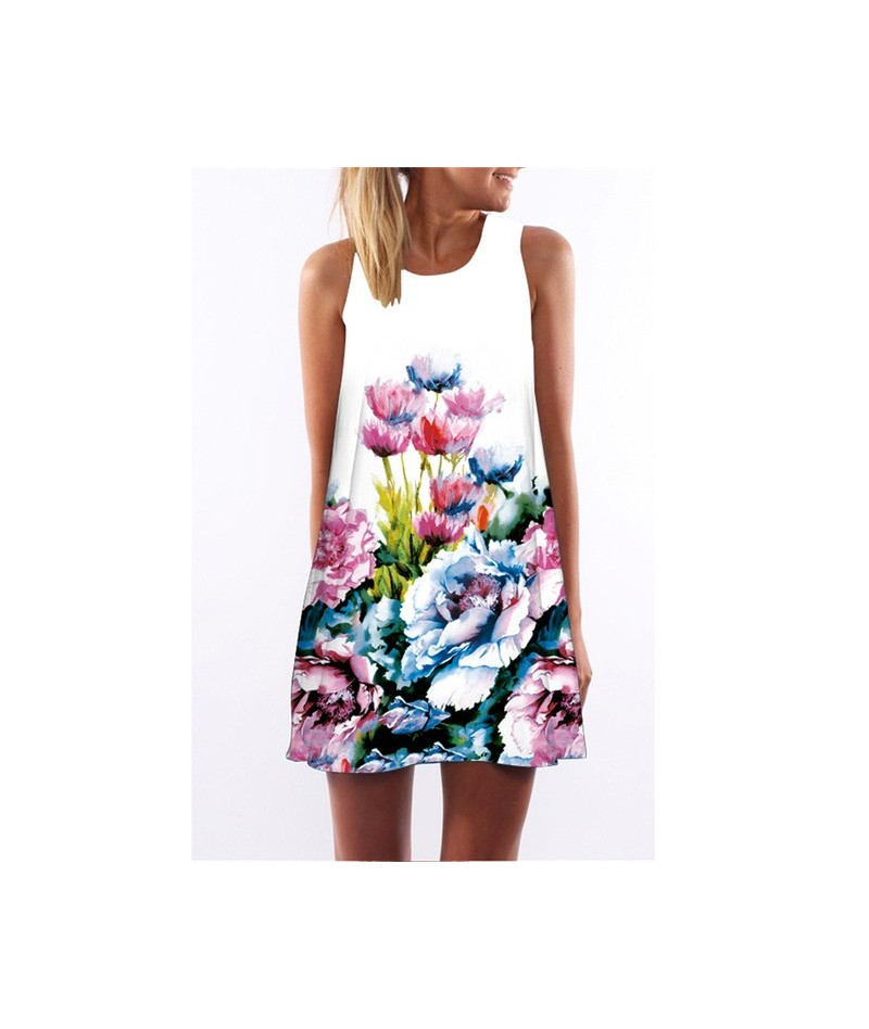 Vintage Summer Dress 2019 Women Sleeveless O-Neck Mini Tank Dresses A-line Loose Beach Wear Vestidos De Fiesta - DS0092 - 4G...