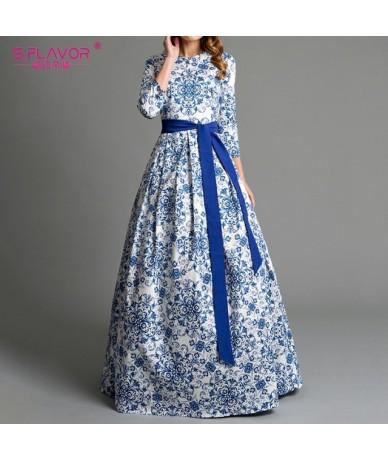 Bohemian printing long dress O-neck 3/4 sleeve big hem women Autumn Winter dress elegant casual vestidos de - blue - 4R30186...