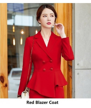 Novelty Red Professional Women Business Suits with Flare Pants and Blazers 2019 Autumn Winter Ladies Office Pantsuits Outfit...