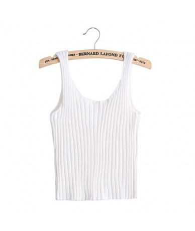 2017 Sexy Women Bodycon Sling Knitted Camisole white/black/grey U-neck Vest Slim Tank Tops - white - 413904870086-1
