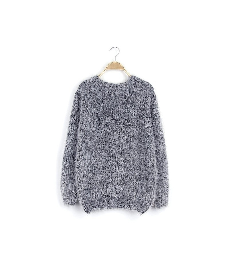 Women Round Neck Long Sleeve Mohair Sweaters Casual Solid Candy Colors Warm Knitting Pullovers Jumper Winter Coat Tops - gra...