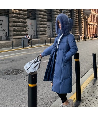 Winter Jacket Women 2019 Middle Long Cotton-padded Jackets Big Fur Hooded Collar Parkas Thicken Warm Winter Coat Female - bl...