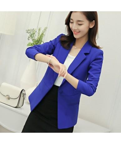 2019 Plus Size Autumn Women One Button Slim Blazer Solid Long Sleeve Lady Suit Notched Turndown Neck Short Work Wear - Blue ...