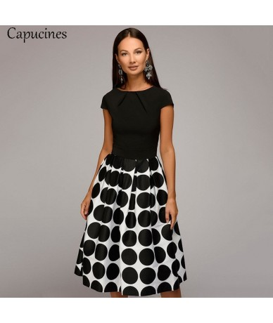 Women Summer Point Printing Patchwork Dress Short Sleeves Round Neck Pleated Casual Dress Vintage A-line Party Dresses - Bla...