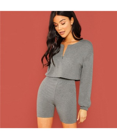 V Cut Neck Crop Top and Leggings Shorts Set Streetwear Grey Clothes 2019 Spring Women Casual Skinny Two Piece Set - Gray - 4...