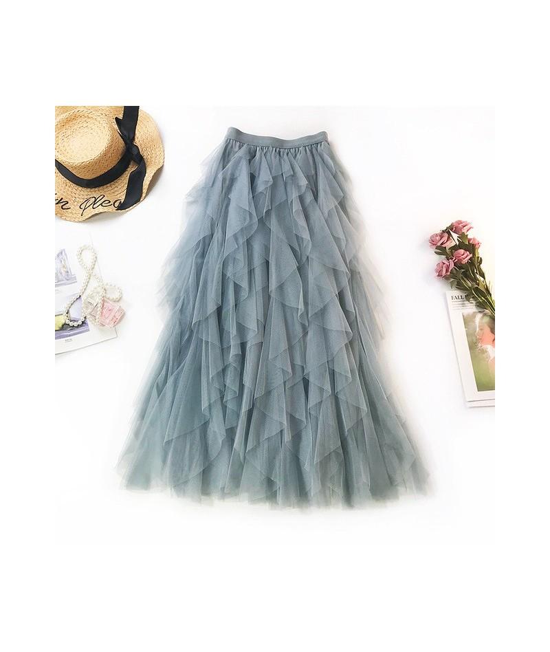 2019 Summer Women Boho Long Skirt High Waist Ruffles Women Beach Skirts Pink Jupe Femme Tulle Skirt Saia Midi Faldas - Blue ...