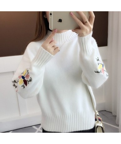 Knitted Sweater Women Roubd Collar Sweater And Pullovers Embroidery Long Sleeved Jumper For Lady Slim Waist Christmas Sweate...