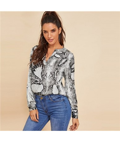 Grey Casual V-Cut Neck Snake Skin Top Office Ladies Long Sleeve Workwear Shirt 2018 Autumn Women Tops And Blouses - Gray - 4...