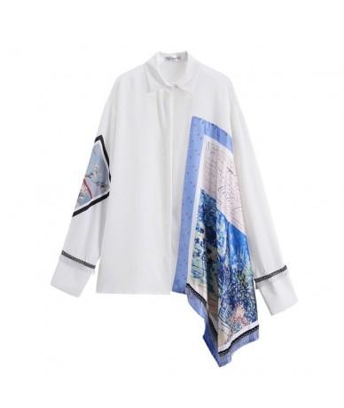 2019 New Spring Summer Lapel Long Sleeve White Irregular Pattern Printed Big Size Shirt Women Blouse Fashion Tide JT636 - wh...