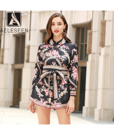 Office Lady Twinset Women 2019 Autumn Hidden Single Breasted Full Sleeve Long Blouse + Short Pants Vintage Floral Suits - Bl...