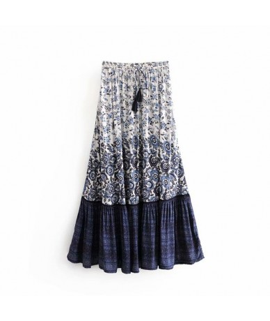 Vintage chic fashion Hippie women floral print tassel beach Bohemian skirt High Elastic Waist Boho rayon Maxi Skirt Femme - ...