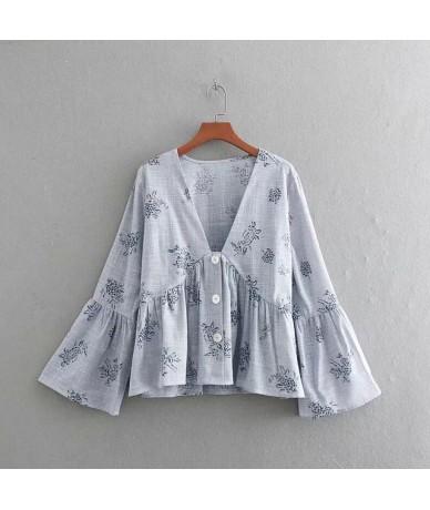 Flower Printing V Neck Loose Smock Women Linen Shirt Casual Flare Sleeve Blouse Summer Tops Feminina Chemise S5368 - as pic ...