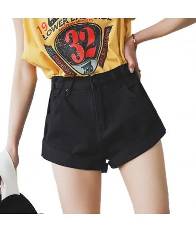 High Waist White Denim Shorts Women Short Femme Khaki Wide Leg Elastic Waist Vintage Jeans Shorts Loose Women Summer - black...