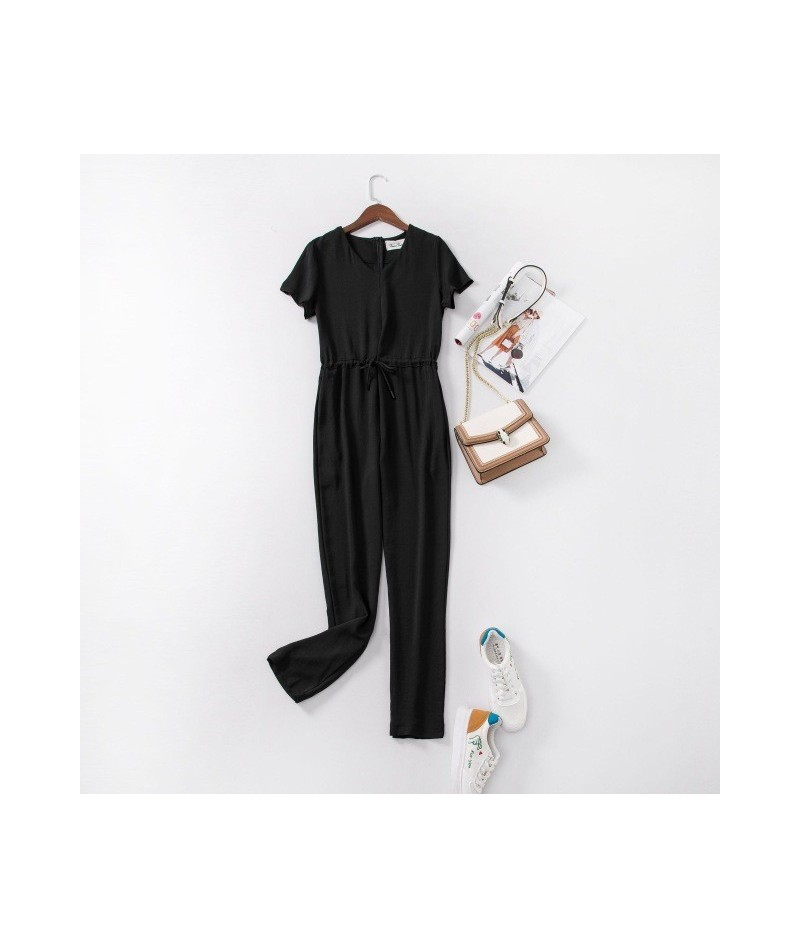 Women Summer Sexy Short Sleeve Jumpsuit Black Red Jumpsuits with Pocket and Sashes Rompers Women's V Neck Tapered Bodysuit -...